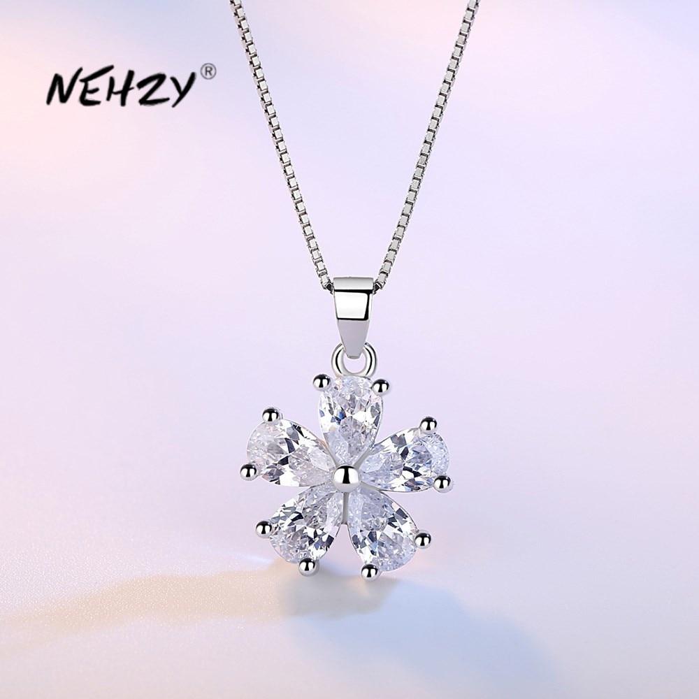 NEHZY 925 de plata esterlina mujer nueva moda de alta calidad de joyería de cristal Simple colgante de flores de zirconia collar de longitud 45CM