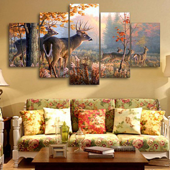 5 pcs,Diamond Embroidery 5D DIY Diamond Painting deer,Forest,Leaves,Diamond Painting Cross Stitch scenic,diamond pattern фото