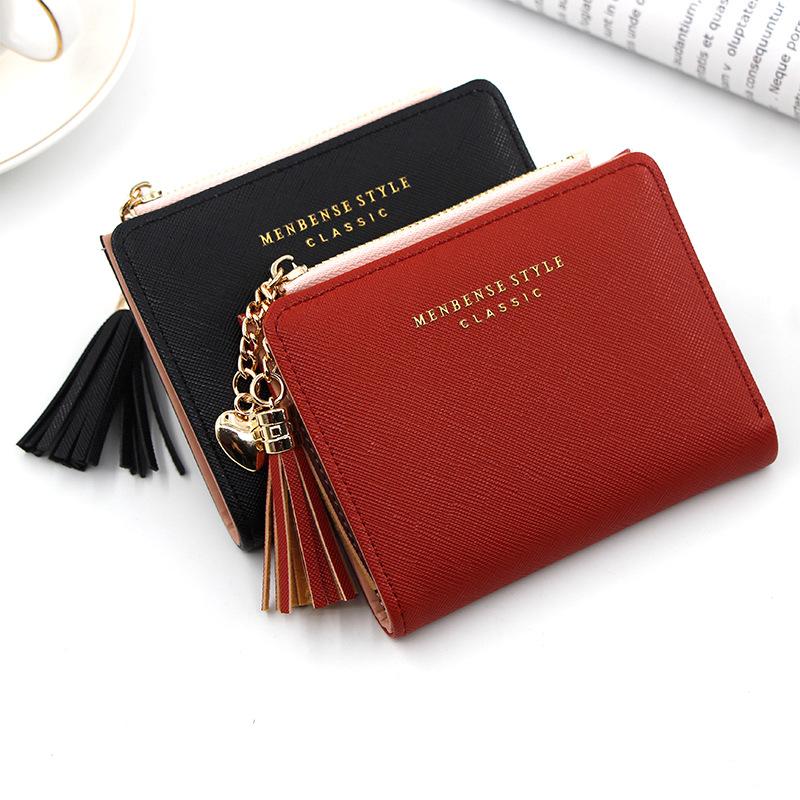 2020 Tassel Women Wallet Small Cute Wallet Women Short Leather Women Wallets Zipper Purses Portefeuille Female Purse Clutch