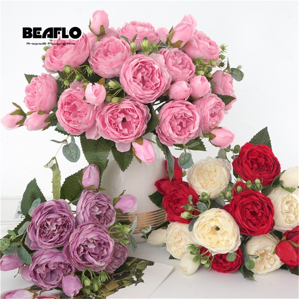 1 Bouquet 9 heads Artificial Peony Tea Rose Flowers Camellia Silk Fake Flower flores for DIY Home Garden Wedding Decoration 1