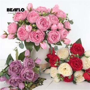 1 букет из 9 искусственных пионов, чайная роза, цветы, шелковые искусственные цветы камелии, цветы «сделай сам» для домашнего сада, свадебное ...