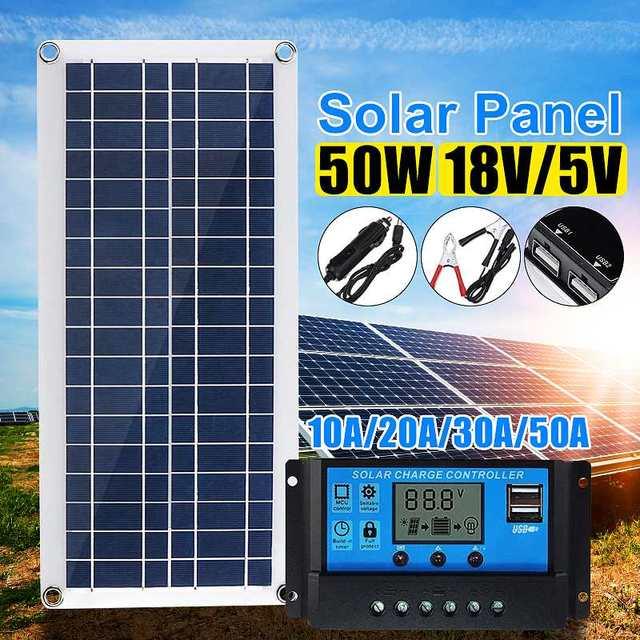50W Solar Panel 12V 5V USB Portable Solar Panel Cells+ 10/20/30/40A Controller for Car Yacht RV Charging Outdoor Emergency Light 1