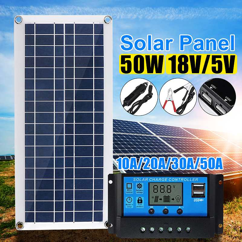 50W Solar Panel 12V 5V USB Portable Solar Panel Cells+ 10/20/30/40A Controller For Car Yacht RV Charging Outdoor Emergency Light