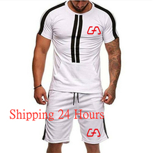 running set suits men Shorts fitness shirt sport mens cotton gym training sports t-shirt 2-piece XXXL