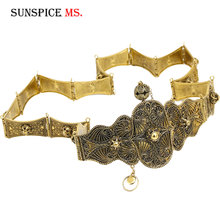 Sunspicems Ethnische Metall Kaukasus Gürtel für Frauen Hochzeit Kleid Schmuck Relief Schnalle Link Kette Antike Bronze Gold Farbe