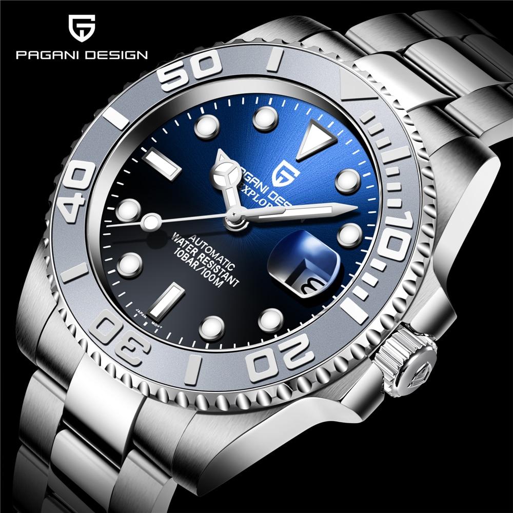 PAGANI DESIGN Brand Automatic Mechanical Men Watch NH35A Movement 100M Waterproof Sport  Sapphire Wrist Watch Relogio Masculino