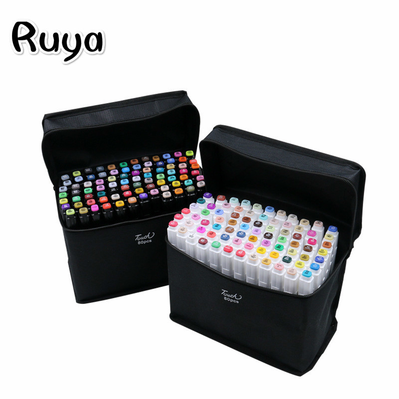 TouchFIVE Art Copic Markers Pen Set 30/40/60/80 Colors Dual Head Anime Stationery Sketch Drawing Water Color Brush Pen Stabilo
