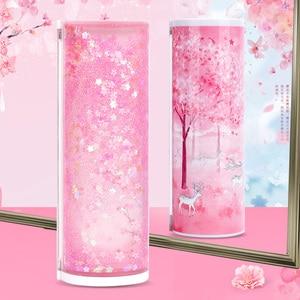 Image 3 - Newmebox Pink Pencil Case Kawaii Fallen Flower Pen Box School for Girl Plastic Stationery Romantic Cherry Blossom Back To School