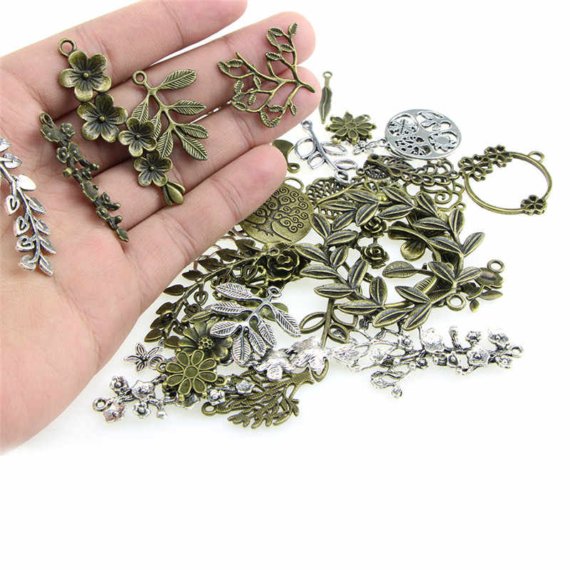 1Set Mixed Leaves Flowers Charm Pendant DIY Jewelry Making Craft Findings