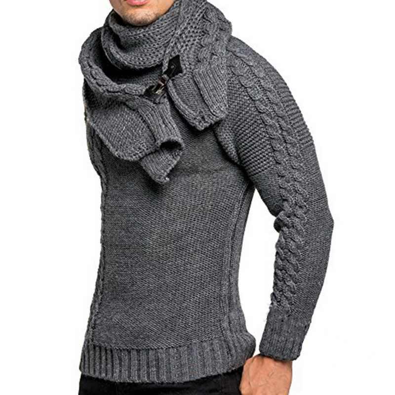 גברים של חורף עם צעיף גברים מקרית סוודרים S-3XLNeck סוודר סוודרים סתיו חם Slim Fit ארוך שרוול כבל סריגים