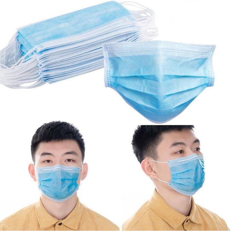 (10 Sets, 20 Sets, 50 Sets, 100 Sets) Gas Masks One-time Protection 3-layer Filter Haze Ear Dust Mask Non-woven Masks