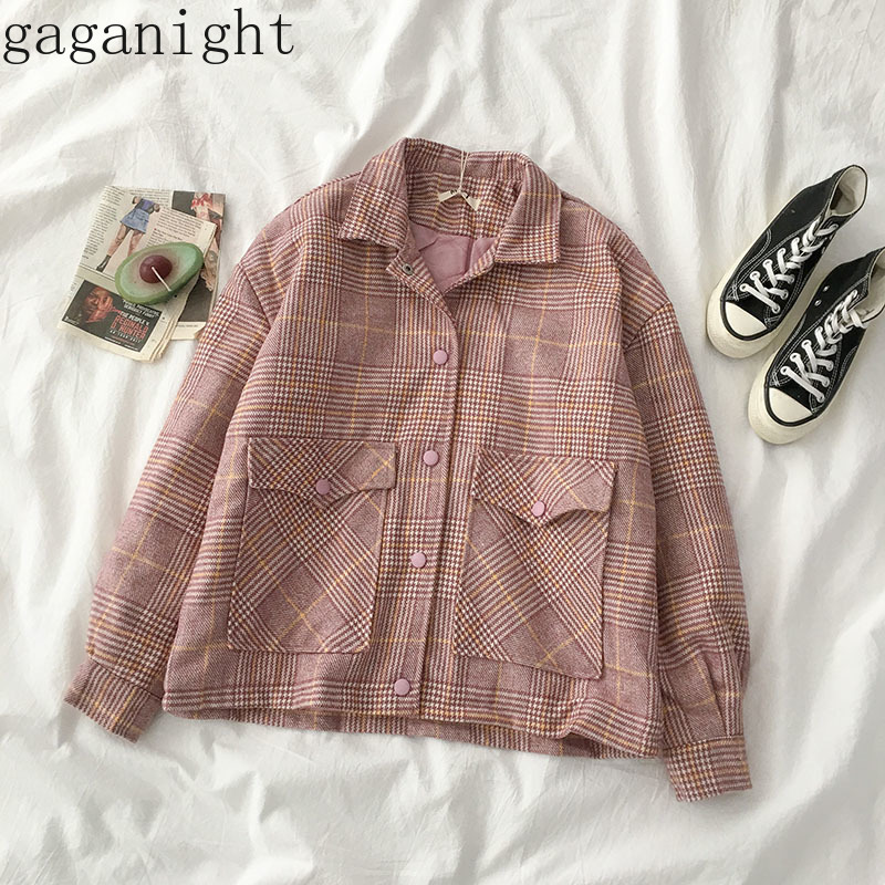 Gagagnight Pink Plaid Vintage Women Coat Autumn Winter Fashion Jacket Long Sleeve Thick Warm Coats Girls Female Korean Outwear