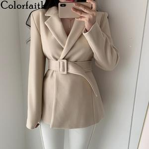 Colorfaith New 2020 Spring Winter Women Jackets Woolen Blazers Fashionable One button Lady Empire Lace Up Elegant Tops JK8085