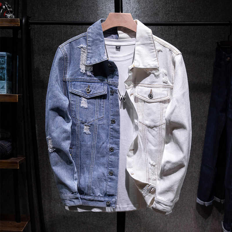 Mens Hip Hop Jeans Jacket Coat Men's Wear Unlined Denim Jacket Trucker Rugged Wear Unlined Denim Jacket Asian size M-5XL