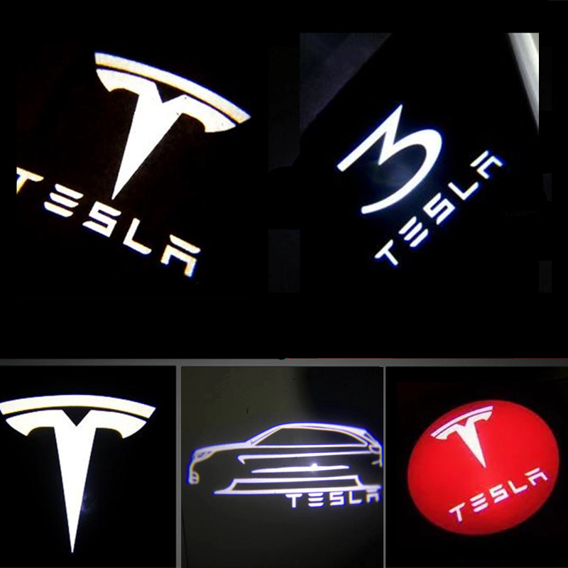 Car Led Lights Decorative Lamps Welcome Shadow Light for MODEL S X Led Logo Projector Lights