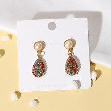 New Womens Fashion Crystal Earrings Rhinestone Glass Colored Resin Sweet Metal for Girls Women