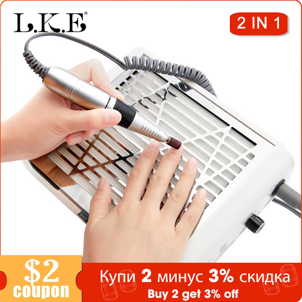 Lke 2 In 1 Manicure Stofzuiger Nail Boor Stofafscheider Polijsten Pen Nagels Art Equipment Manicure Pedicure Machine