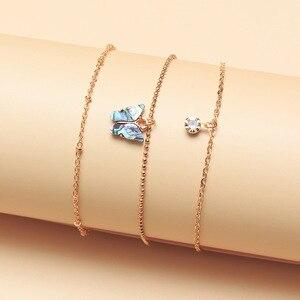 Vintage cekiny Shell Butterfly Anklet kobiety złoty kolor koralik Rhinestone łańcuszek na kostkę bransoletka na nogę 2020 moda biżuteria na stopy