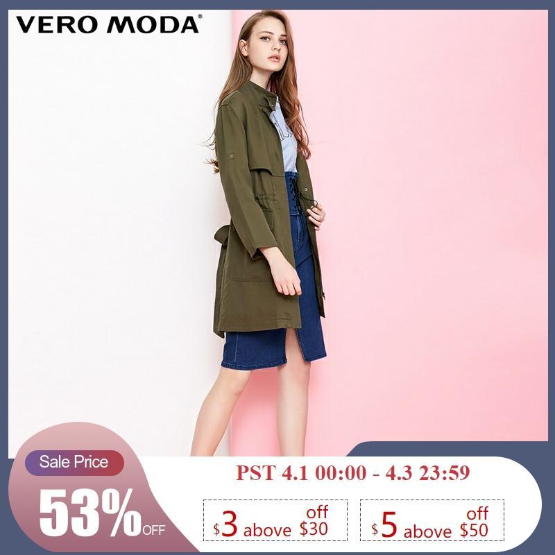 Vero Moda Women's Drawstring Cinched Waist Medium Length Trench Coat | 318321543