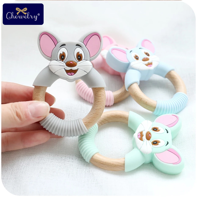 1pc Baby Teethers Silicone Mouse Rodents Silicone Teethers Wooden Ring Wooden Teether Stroller Squirrel For Children Goods Toys