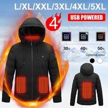 Зима электрический с подогревом куртки открытый жилет пальто USB длинные рукава электрический обогрев с капюшоном куртки теплый зимний термальный одежда
