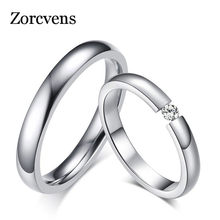 ZORCVENS Silver Color Stainless Steel Wedding Rings for Women Men Bands CZ Stone Engagement Ring(China)