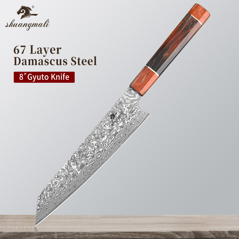 Chef-Knife Cleaver Damascus Steel Slicing Cutting Wooden-Handle Gyuto Meat 8inch 67layer