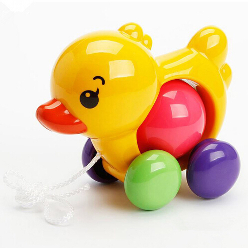 Toddler Kids Baby Toys Traditional Pull Along Duck Dog Plastic Toys For Children Sounds Toy Newbrons Baby Learn Walk Toy Rattles
