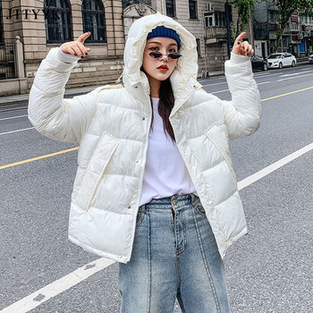 2018 new kids baby girl boy 2 4y outwear fur hooded coat ski snow suit jacket bib pants overalls 30 degree down clothes Streetwear Winter Jacket Women Hooded Down Jacket Parkas Female Thicken jacket Warm Coat Candy colors Glossy Snow Down Outwear