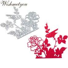 WISHMETYOU Metal Cutting Dies Leaves Edge Roses Bird Love Die Handcrafted Greeting Cards Crafts Decoration Embossing DIY