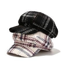 Autumn 2020 New Grid Octagonal Hat Female Japanese Literary Retro Newsboy Hat Fashion Street Cap Cotton Breathable Hat