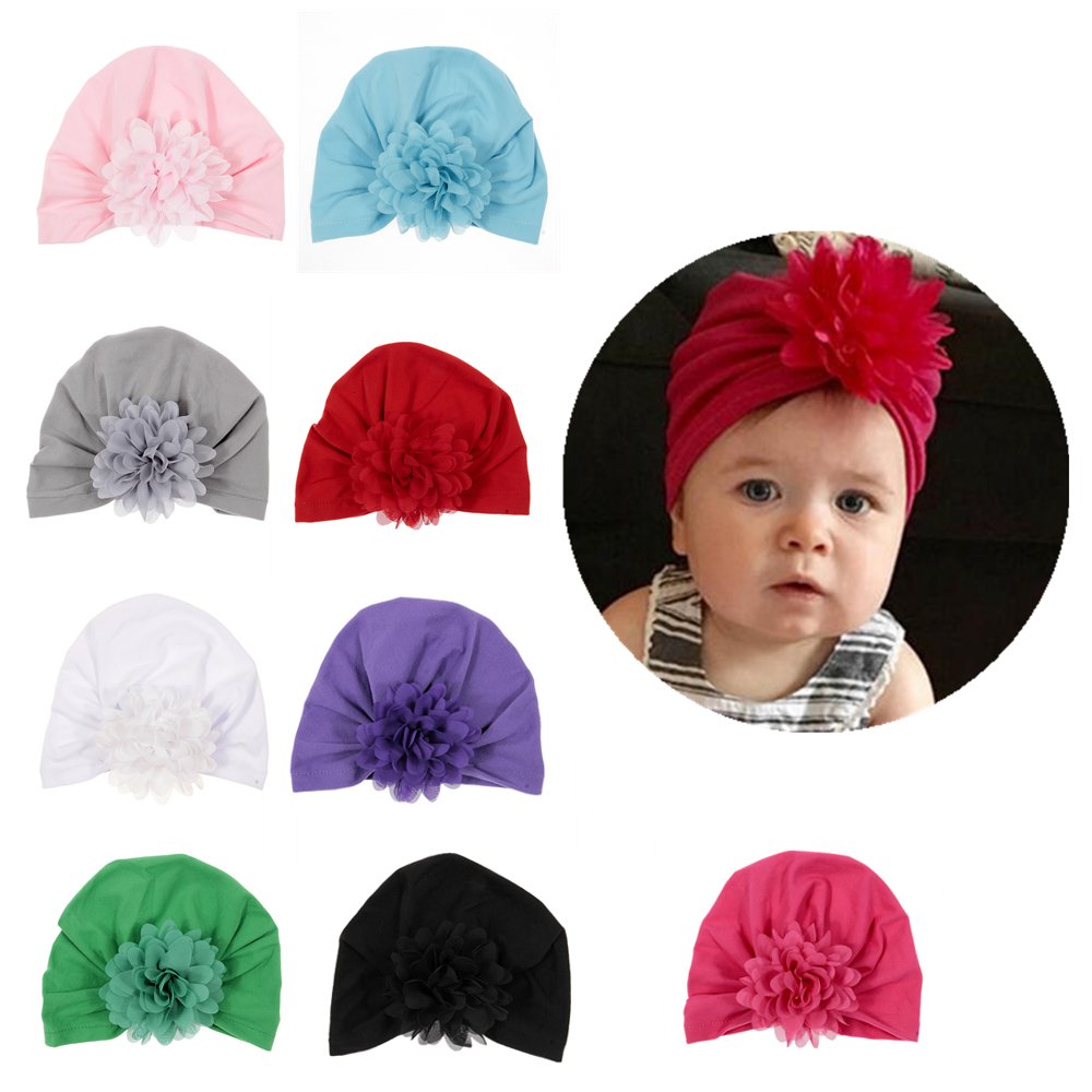 New Cute Baby Girls Turban Hat Chiffon Flower Cotton Blend Newborn Caps Beanie Top Knot Handmade Hats Birthday Christmas Gift