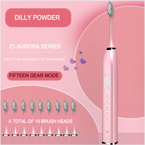 Image 5 - Cepillo de dientes eléctrico Ultra sónico, cepillo de dientes sónico ondulado de 360 ° para adultos, resistente al agua IPX7 con 10 cabezales, carga USB recargable