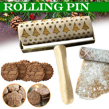 Newly Wooden Christmas Embossing Rolling Pin Engraved DIY Tools for Baking Cookie Kid TE889