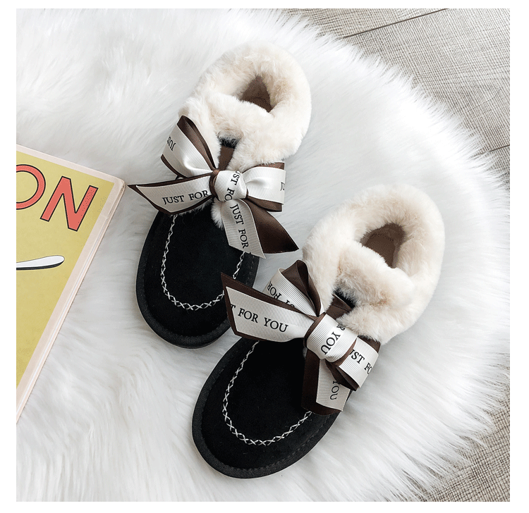2019 Women Snow Boots Winter Ankle Boot Female Bow Warmer Plush Suede Rubber Flat Slip On Fashion Platform Ladies Shoes 40
