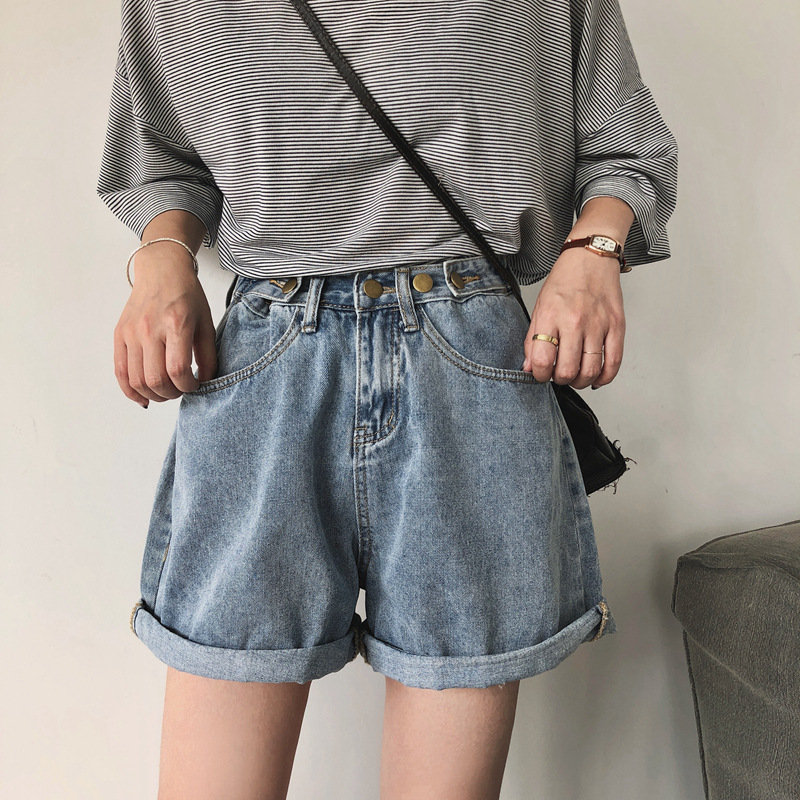 Significant Leg Fine Cover Hip Store Owner Reserved By Oneself Overcharging Adjustable Girdle High-waisted Loose-Fit Denim Short