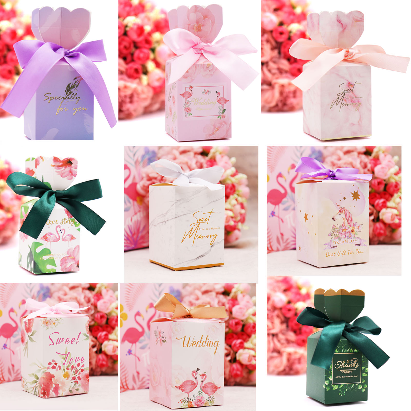 Paper Romantic Candy Box Vase Style Unicorn Flamingo Gift Box With Ribbon For DIY Wedding Party Decor Guests Return Gift