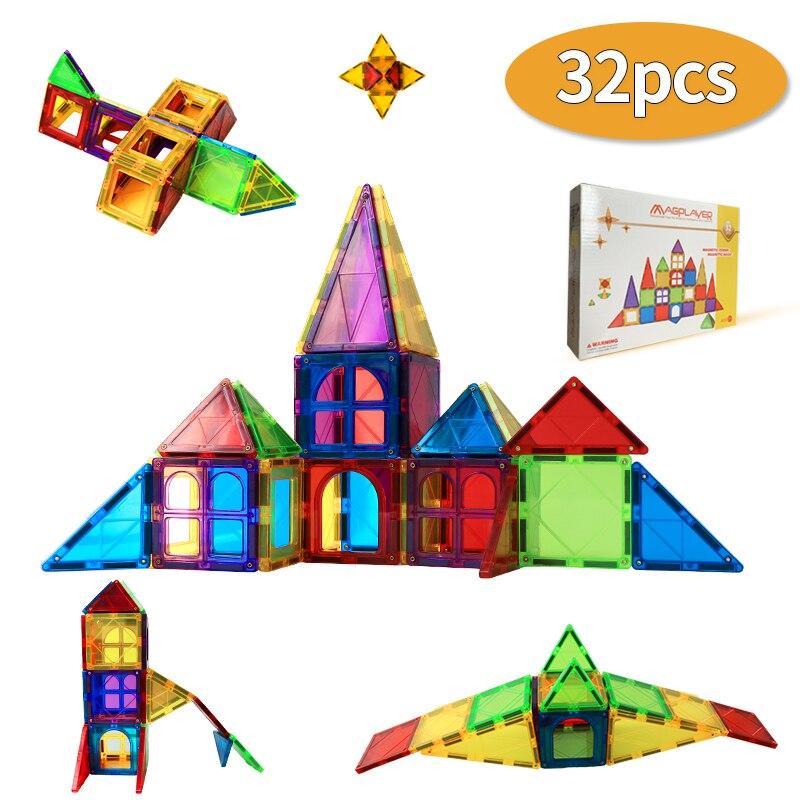 Manyetik yapı taşları tuğla modeli manyetik inşaat seti renkli pencere mıknatıs eğitici oyuncaklar çocuklar için