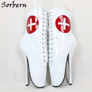 Image 5 - Sorbern Red Cross White Patent Ballet Boots For Ankle High Booties Stilettos 18Cm Lace Up Unisex Plus Size Shoe Short Boots Lady
