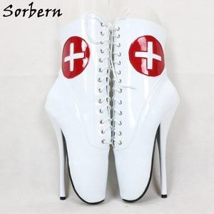 Image 5 - Sorbern kırmızı çapraz beyaz Patent bale botları ayak bileği yüksek patik Stilettos 18Cm dantel Up Unisex artı boyutu ayakkabı kısa çizmeler bayan