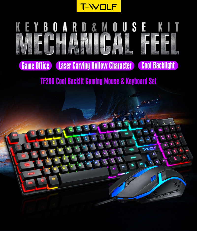 TF200 USB Wired Gaming Keyboard Standard 104 Keys Ergonomic Multimedia Keyboard Rainbow LED Backlight for PC Computer/ Desktop