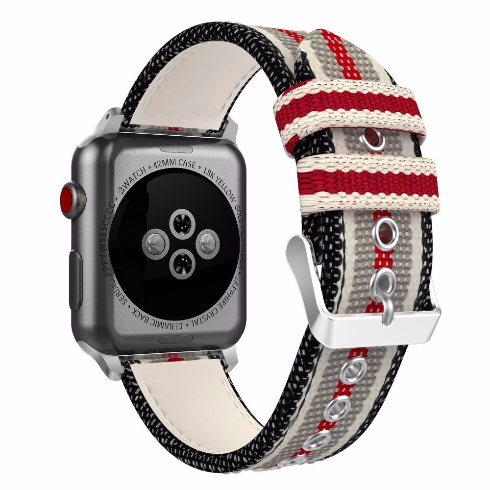 Nylon Replacement pin buckle for apple watch series 5 4 3 2 1 woven band fabric-like feel strap iWatch 44mm 42mm 38mm 40mm