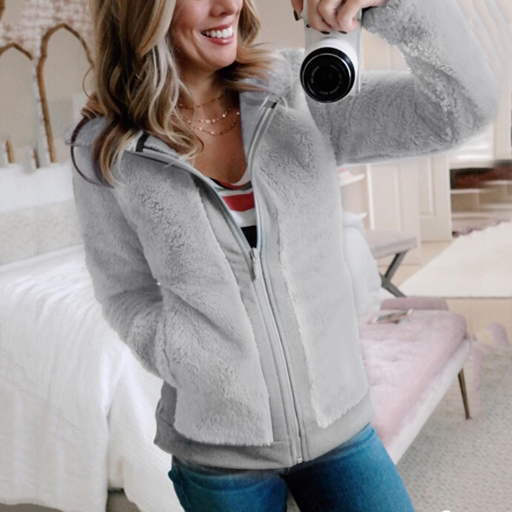 35# women's jacket Winter Warm Fleece with Pockets Zip Open Front Outwear Women's coat 2019 Women's Fashion Jacket And Coat