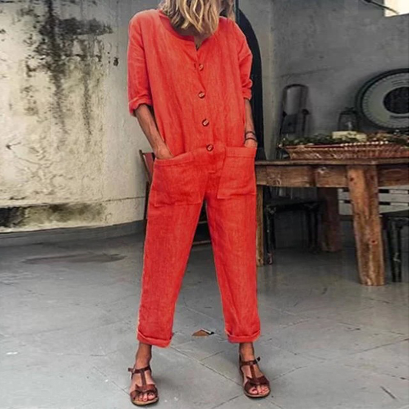 Jumpsuit Romper Trousers Spring Neck Long-Sleeve Female Womens Ladies Crew Button Solid
