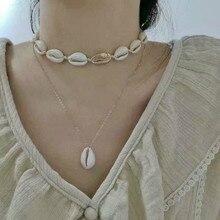 Statement Fashion Natural Shell Layered Necklace Women Beach Ocean Wind Hand Madetemperament Pendant Necklace 2020 double layered pendant necklace