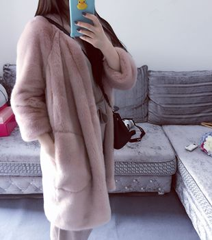 The best-selling new pink girls' long faux fur imitation mink coat is heavy, warm and luxurious imitation mink coat недорого