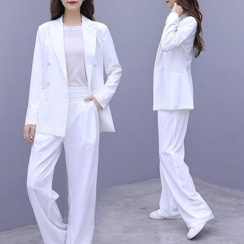 Women's Suits 2019 Autumn New Loose Fashion Professional Suit Commuting Wide Leg Trousers Temperament Women's Two-piece
