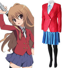 Aisaka taiga cosplay traje de alta qualidade dos homens/mulheres anime tiger×dragon escola uniforme saia terno cosplay traje