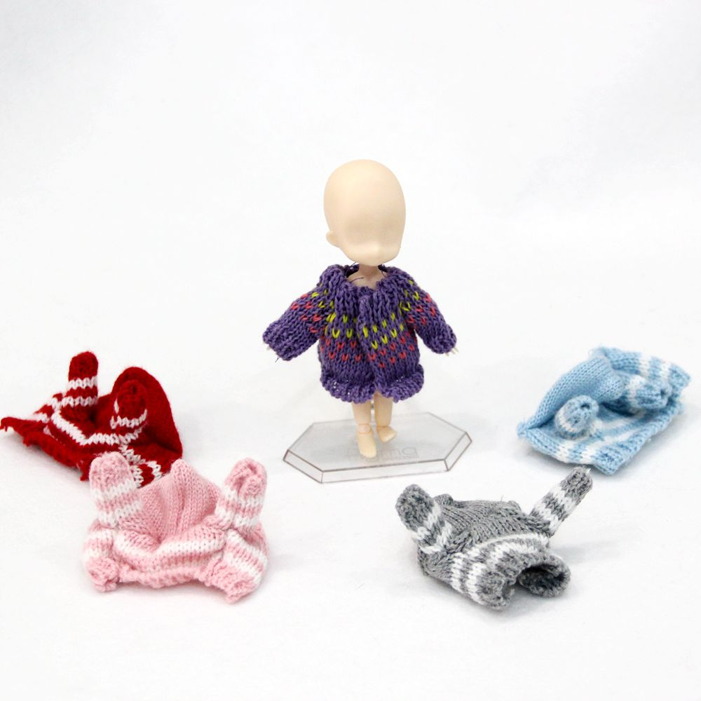 8 Colors New Ob11 Doll <font><b>Clothes</b></font> 1/12 <font><b>1/8</b></font> <font><b>bjd</b></font> Doll <font><b>Clothes</b></font> Clay Doll Knit Sweater Cardigan Coat Doll Accessories image