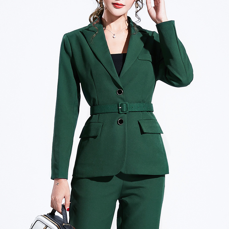 Women's suit 2019 autumn new casual fashion temperament slim slimming solid color single-breasted small suit trousers two-piece 26